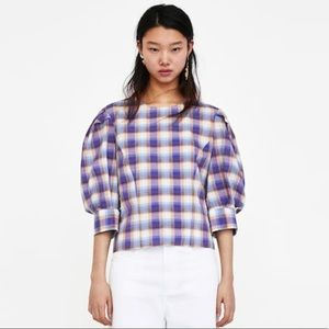 Zara Checkered Blouse with Puff Sleeves